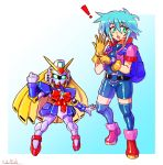 1girl allenby_beardsley backpack bag bike_shorts blue_hair crossover g_gundam gloves glowing glowing_eyes gradient gradient_background green_eyes gundam highres mecha medarot nobel_gundam oomasa_teikoku open_hand robot short_hair yellow_gloves