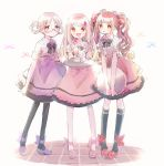 3girls :d :o apron blush bow braid brown_hair cocktail_glass collar cup drinking_glass food frills fruit glasses hair_bow hair_down hair_ornament hiiragi_nemu kyubey leggings long_hair looking_at_viewer magia_record:_mahou_shoujo_madoka_magica_gaiden mahou_shoujo_madoka_magica matching_outfit multiple_girls open_mouth pink_hair plaid plaid_shirt red_eyes satomi_touka shirt shoes short_sleeves skirt smile strawberry tamaki_ui tray twin_braids twintails violet_eyes