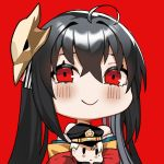 1girl ahoge azur_lane bangs bare_shoulders black_hair blush closed_mouth commander_(azur_lane) crossed_bangs hair_between_eyes hat japanese_clothes kimono lilycious long_hair mask mask_on_head military_hat military_jacket mole mole_under_eye off-shoulder_kimono peaked_cap red_background red_eyes red_kimono smile taihou_(azur_lane)