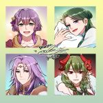 2boys 2girls ahoge armor bangs bare_shoulders bernadetta_von_varley blue_eyes blunt_bangs blush braid character_request choker circlet closed_mouth collarbone commentary_request copyright_request drawingddoom dress earrings eyebrows_visible_through_hair eyes_visible_through_hair fire_emblem fire_emblem:_three_houses fish flower green_hair grey_eyes hair_between_eyes hair_bun hair_flower hair_ornament heart horns jewelry linhardt_von_hevring long_hair looking_at_viewer medium_hair multiple_boys multiple_girls necklace open_mouth pillow pointy_ears portrait purple_hair red_eyes smile teeth tongue translation_request violet_eyes watermark