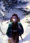 1boy belt brown_hair buckle checkered closed_mouth commentary_request day earrings facial_scar forehead_scar haori highres holding japanese_clothes jewelry kamado_tanjirou katana kimetsu_no_yaiba long_sleeves male_focus outdoors scar sheath sheathed short_hair smile snow snowing solo standing sword taro-k tree walking weapon