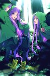 backpack bag bangs blush boots breasts cis05 closed_mouth euryale fate/grand_order fate/hollow_ataraxia fate_(series) forest glasses green_footwear green_jacket green_shorts hood hooded_jacket jacket long_braid long_hair long_sleeves medusa_(lancer)_(fate) nature open_mouth pantyhose purple_hair rider shorts siblings sidelocks sisters small_breasts smile stheno tree twintails under_the_same_sky very_long_hair violet_eyes younger