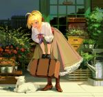 1girl ahoge alternate_costume bangs bell bell_collar blonde_hair blush boots braid braided_bun brown_footwear brown_skirt collar cross-laced_footwear fate/extra fate/grand_order fate_(series) flower flower_shop frilled_skirt frills green_eyes hair_bun hair_intakes high_heel_boots high_heels lace-up_boots lamb leaning_forward long_hair long_skirt looking_down neckerchief nero_claudius_(fate) nero_claudius_(fate)_(all) open_mouth outdoors plant potted_plant puffy_sleeves red_ribbon reflection ribbon shirt shop skirt smile solo standing suitcase sunlight taro-k watering_can white_shirt wide_shot wing_collar