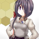 1girl ariake_(kantai_collection) black_hair breastplate commentary_request cosplay dress_shirt flag_print gradient_hair grey_shirt hair_over_one_eye hair_over_shoulder hands_on_hips helena_(kantai_collection) helena_(kantai_collection)_(cosplay) honeycomb_(pattern) honeycomb_background kantai_collection long_hair long_sleeves military military_uniform multicolored_hair neck_ribbon one_eye_closed ouno_(nounai_disintegration) ribbon shirt solo uniform upper_body violet_eyes