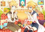 2boys aqua_eyes blonde_hair bread cat cutlery food kagamine_len link multiple_boys nail_polish photo_(object) pillow short_hair shorts sitting stuffed_animal stuffed_bunny stuffed_toy teddy_bear vocaloid yoshiki