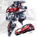 1boy autobot blue_eyes car clenched_hand ground_vehicle gun highres holding holding_gun holding_weapon kouichi_(kouichi-129) looking_at_viewer mecha motor_vehicle multiple_views no_humans sideswipe transformers transformers:_war_for_cybertron weapon zoom_layer