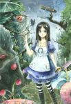 1girl absurdres alice:_madness_returns alice_(wonderland) alice_in_wonderland american_mcgee's_alice apron black_hair bug butterfly dress green_eyes highres insect jewelry long_hair necklace neeta pantyhose solo striped striped_legwear