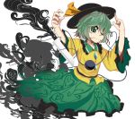 1girl closed_mouth collared_shirt epic_armageddon eyeball floral_print flower frilled_sleeves frills green_eyes green_hair hair_over_one_eye hat heart heart_of_string highres knife komeiji_koishi long_sleeves looking_at_viewer open_eyes ribbon shadow shirt short_hair simple_background skirt smoke solo third_eye touhou wavy_hair white_background wide_sleeves yellow_ribbon yellow_shirt