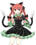 1girl animal_ears bangs black_bow black_dress bow braid cat_ears cat_tail chups dress extra_ears eyebrows_visible_through_hair fang frilled_dress frilled_sleeves frills green_frills highres kaenbyou_rin long_sleeves looking_at_viewer multiple_tails open_mouth red_eyes red_nails red_neckwear redhead short_hair simple_background smile solo tail touhou twin_braids two_tails white_background