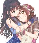 2girls alternate_costume apron aqua_eyes back_bow bangs bare_arms bare_shoulders blue_bow blue_dress blush bow brown_dress brown_eyes brown_hair buttons closed_mouth commentary_request dress enmaided eternal_bloom_(idolmaster) eye_contact eyebrows_visible_through_hair floral_print frilled_dress frilled_sleeves frills glove_bow gloves grey_gloves hair_bow hand_on_another's_arm hands_on_another's_shoulder hands_up head_on_chest highres idolmaster idolmaster_cinderella_girls idolmaster_cinderella_girls_starlight_stage jewelry long_hair looking_at_another maid maid_dress maid_headdress multiple_girls nanonin necklace one_eye_closed one_side_up open_mouth own_hands_together pendant pink_bow pink_ribbon print_dress puffy_short_sleeves puffy_sleeves ribbon sapphire_(gemstone) shibuya_rin shimamura_uzuki short_sleeves sidelocks simple_background sleeveless sleeveless_dress smile standing striped striped_bow striped_ribbon upper_body wavy_hair white_apron white_background wrist_cuffs yuri