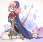 1girl akehata_hikari blue_cape blue_mage blush boots cape character_name crystal detached_sleeves final_fantasy final_fantasy_v gloves green_eyes hat jewelry lenna_charlotte_tycoon looking_at_viewer mask moogle pauldrons pink_hair seiza shoulder_armor simple_background sitting smile solo star_(symbol) sword twitter_username weapon
