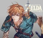 1boy artist_name bangs belt belt_buckle blonde_hair blue_eyes blue_shirt brown_belt buckle closed_mouth copyright_name enaa grey_background link long_hair long_sleeves looking_away male_focus messy_hair pointy_ears shirt short_over_long_sleeves short_sleeves simple_background solo sword the_legend_of_zelda the_legend_of_zelda:_breath_of_the_wild upper_body weapon