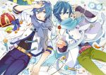 2boys akiyoshi_(tama-pete) blue_eyes blue_flower blue_hair blue_nails bow bowtie candy cat collaboration commentary crown eating fish flower food hand_on_own_head headphones jacket kaito lollipop lying male_focus microphone mouth_hold multiple_boys nail_polish scarf sheet_music short_hair striped vocaloid yoshiki