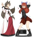 2girls animal_ears arms_behind_head bare_shoulders between_breasts black_shirt blue_bow boombox bow breasts brooch brown_hair capelet closed_eyes closed_mouth clothes_between_breasts dancing dress eighth_note epic_armageddon hair_bow hidden_mouth highres imaizumi_kagerou jewelry long_hair long_skirt long_sleeves motion_lines multiple_girls musical_note off-shoulder_dress off_shoulder one_eye_closed quarter_note red_eyes redhead sekibanki shirt short_hair simple_background skirt smile tail touhou werewolf white_background white_dress wolf_ears wolf_tail