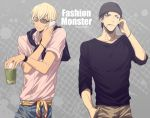 2boys akai_shuuichi amuro_tooru argyle argyle_background beanie black_hair black_headwear black_shirt blonde_hair blue_eyes blue_pants brown_pants cellphone cigarette collared_shirt commentary_request cup dark_skin dark_skinned_male disposable_cup drinking_straw english_text grey_background hair_between_eyes hand_in_pocket hat holding holding_cup holding_phone jacket jacket_on_shoulders male_focus mashima_shima meitantei_conan mouth_hold multiple_boys pants phone pink_shirt shirt smartphone smile standing sunglasses talking_on_phone twitter_username upper_body watch watch