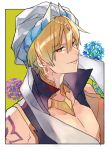 1boy blonde_hair blue_flower border diadem earrings fate/grand_order fate_(series) flower gilgamesh gilgamesh_(caster)_(fate) glint horns jewelry looking_at_viewer male_focus parted_lips purple_flower red_eyes smile solo turban upper_body vest waltz_(tram) white_border