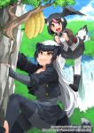 2girls :d badger_ears badger_tail bandaid bandaid_on_nose bangs beehive bird_tail bird_wings black_footwear black_gloves black_hair black_jacket black_skirt boots brown_eyes clenched_hand cliff climbing commentary_request cropped_jacket day extra_ears eyebrows_visible_through_hair fangs fangs_out fingerless_gloves flying gloves greater_honeyguide_(kemono_friends) grey_shirt hair_between_eyes happa_(cloverppd) head_wings honey_badger_(kemono_friends) jacket kemono_friends kemono_friends_3 long_hair long_sleeves multiple_girls official_art open_mouth outdoors pantyhose pink_hair pleated_skirt shirt short_hair skirt smile tail tree water waterfall white_hair white_legwear wings