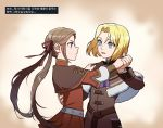 1boy 1girl blonde_hair blue_eyes brown_hair dancing dimitri_alexandre_blaiddyd drawingddoom edelgard_von_hresvelg eyebrows_visible_through_hair eyes_visible_through_hair fire_emblem fire_emblem:_three_houses hand_on_another's_shoulder holding_hands long_hair long_sleeves looking_at_another open_mouth standing teeth tongue translation_request upper_body violet_eyes watermark younger