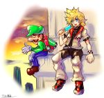2boys blonde_hair blue_eyes bracelet brown_hair crossover facial_hair food gloves green_headwear highres jewelry kingdom_hearts ledge looking_to_the_side luigi luigi's_mansion_3 mario_(series) multiple_boys mustache oomasa_teikoku open_hand popsicle roxas sad sitting white_gloves