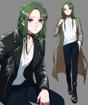 1boy belt blue_eyes boots choker collarbone commentary_request drawingddoom eyebrows_visible_through_hair eyes_visible_through_hair fire_emblem fire_emblem:_three_houses full_body green_hair grey_background highres jacket linhardt_von_hevring long_hair long_sleeves looking_at_viewer multiple_views pants shirt simple_background standing