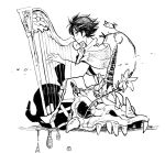 1boy bard_(final_fantasy) blue_eyes butz_klauser final_fantasy final_fantasy_v flower harp headband horns instrument looking_at_viewer looking_to_the_side monochrome monster shadow simple_background single_horn sitting skull smile tunic udonnigu white_background