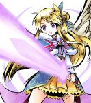 1girl blonde_hair character_request glowing glowing_sword glowing_weapon hair_bun highres holding holding_sword holding_weapon kirara_fantasia long_hair looking_down ma_tsukasa skirt solo sunrise_stance sword violet_eyes weapon yellow_skirt