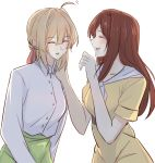 2girls :d ahoge bangs blonde_hair blush brown_hair closed_eyes collared_shirt commentary_request dress dress_shirt eyebrows_visible_through_hair green_skirt hair_between_eyes hair_ribbon hand_on_another's_shoulder highres laughing long_hair looking_at_another luculia_marlborough multiple_girls open_mouth red_ribbon ribbon shin_(shinshan427) shirt sidelocks skirt smile standing violet_evergarden violet_evergarden_(character) white_neckwear white_shirt yellow_dress