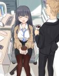 1boy 1girl :3 :d ^_^ beige_cardigan binder black_hair black_jacket black_pants blonde_hair blurry blush breasts brown_cardigan brown_legwear business_suit cardigan cellphone chair character_request closed_eyes coaster coffee coffee_cup coffee_mug collared_shirt commentary_request copyright_request cup depth_of_field desk disposable_cup formal from_above from_behind hair_over_shoulder high-waist_skirt highres holding holding_cup id_card indoors jacket keyboard_(computer) knees lanyard layered_clothing long_hair long_sleeves looking_at_another miniskirt mug necktie office office_chair office_lady open_mouth own_hands_together pachi_orca pants pantyhose pencil_skirt phone pink_neckwear shadow shiny shiny_hair shirt shirt_tucked_in short_hair sidelocks sitting skirt smartphone smile standing suit thighs white_shirt wing_collar