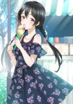 1girl alternate_hairstyle bangs bare_shoulders black_dress black_hair bracelet braid collarbone commentary_request crepe day dress floral_print food hair_between_eyes holding holding_food jewelry licking long_hair looking_at_viewer love_live! love_live!_school_idol_project low_twintails off-shoulder_dress off_shoulder outdoors pleated_dress print_dress red_eyes sakasa_(guranyto) short_sleeves solo stall tongue tongue_out twin_braids twintails very_long_hair yazawa_nico
