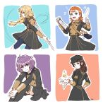4girls annette_fantine_dominic bag bangs bernadetta_von_varley bike_shorts blonde_hair blue_eyes blunt_bangs boots bracelet braid breasts brown_hair clipboard cowboy_shot dorothea_arnault drawingddoom earrings eyebrows_visible_through_hair feathers feet_out_of_frame fire fire_emblem fire_emblem:_three_houses garreg_mach_monastery_uniform green_eyes grey_eyes hair_between_eyes handbag hat highres holding ingrid_brandl_galatea jewelry large_breasts long_hair long_sleeves looking_at_viewer magic medium_breasts messy_hair motion_lines multiple_girls music musical_note open_mouth orange_hair pantyhose paper purple_hair short_hair short_twintails singing sitting skirt smile standing teeth thigh-highs thigh_boots tongue twintails watermark