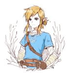 1boy belt belt_buckle blonde_hair blue_eyes buckle commentary_request drawingddoom earrings fingerless_gloves gloves highres jewelry link long_sleeves pointy_ears ponytail shirt simple_background solo sword the_legend_of_zelda the_legend_of_zelda:_breath_of_the_wild upper_body watermark weapon white_background