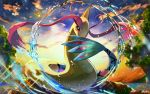 aqua_ring_(pokemon) black_eyes clouds commentary_request gen_3_pokemon milotic nkyoku no_humans orange_sclera outdoors pokemon pokemon_(creature) signature sky sparkle twilight water