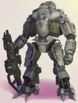 atlas_(titanfall) beige_background gun hdfm highres holding holding_gun holding_weapon looking_to_the_side mecha no_humans open_hand robot shadow solo standing titanfall weapon