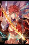 1boy abs cape embers emiya_shirou fate/grand_order fate_(series) holding holding_sword holding_weapon katana letterboxed looking_at_viewer male_focus navel parted_lips redhead scabbard sengo_muramasa_(fate) sheath shrug_(clothing) solo sparks sword unsheathing upper_body waltz_(tram) weapon wristband yellow_eyes