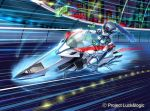 1girl commentary copyright_name green_eyes ground_vehicle looking_to_the_side luck_&_logic mecha mechanical_skirt megaru motor_vehicle motorcycle no_humans official_art police souto_(0401) vehicle_focus watermark