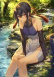 1girl bare_shoulders black_hair breasts brown_eyes commentary_request day detached_sleeves feet_out_of_frame forest highres mashuu_(neko_no_oyashiro) medium_breasts nature original outdoors sitting solo stream tree water wet