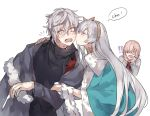 !! 1boy 2girls anastasia_(fate/grand_order) black_sweater blue_cape blush cape cheek_kiss closed_eyes fate/grand_order fate_(series) grey_hair kadoc_zemlupus kiss long_hair mash_kyrielight multiple_girls notice_lines onomatopoeia open_mouth simple_background sweater waltz_(tram) white_background wide-eyed yellow_eyes