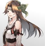 1girl bandaid bandaid_on_face bare_shoulders black_neckwear blood blush brown_eyes brown_hair detached_sleeves dirty dirty_face elbow_gloves forehead_protector gloves gradient gradient_background green_headwear hair_intakes headband highres jintsuu_(kantai_collection) kantai_collection long_hair necktie open_mouth remodel_(kantai_collection) school_uniform serafuku skirt solo torn_clothes u_yuz_xx white_serafuku