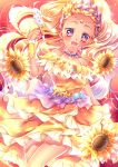 1girl :d absurdres blonde_hair circlet collarbone cure_soleil dress earrings flower highres holding jewelry layered_dress long_hair looking_at_viewer open_mouth orange_dress precure shiny shiny_skin sleeveless sleeveless_dress smile solo star_twinkle_precure sunflower touki_matsuri very_long_hair violet_eyes wrist_cuffs yellow_flower