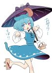 1girl absurdres animal_ears bangs blue_eyes blue_hair blue_skirt blue_vest blush cat_ears cat_tail collared_shirt commentary_request cowboy_shot fang geta hands_up heterochromia highres holding holding_umbrella juliet_sleeves karakasa_obake kawayabug leg_up long_sleeves looking_at_viewer no_socks open_mouth oriental_umbrella paw_pose popped_collar puffy_sleeves purple_umbrella red_eyes shirt short_hair simple_background skirt slit_pupils solo standing standing_on_one_leg tabi tail tatara_kogasa tongue tongue_out touhou umbrella vest white_background white_shirt