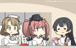 3girls agano_(kantai_collection) anchor_hair_ornament atlanta_(kantai_collection) black_hair black_headwear blush breasts brown_eyes closed_eyes commentary_request cup disposable_cup drinking_straw eating eyebrows_visible_through_hair fast_food food french_fries garrison_cap gloves hair_ornament hamburger hamu_koutarou hat headgear highres holding houston_(kantai_collection) kantai_collection large_breasts long_hair looking_at_viewer multiple_girls peaked_cap shirt short_hair short_sleeves sitting smile sweat translated white_gloves white_shirt