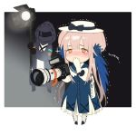 1girl 1other arknights bangs black_bow black_jacket blue_dress blush bow brown_eyes camera ceylon_(arknights) chibi commentary_request doctor_(arknights) dress full_body gloves hat hat_bow heart heart-shaped_pupils holding holding_camera hood hooded_jacket jacket long_hair long_sleeves nose_blush petticoat pink_hair salmon88 standing symbol-shaped_pupils very_long_hair white_gloves white_headwear