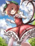 1girl :d animal_ear_fluff animal_ears animal_print arms_up blue_sky bow bowtie brown_eyes brown_hair cat_ears cat_print cat_tail chen claw_pose clouds commentary cropped_legs day eyebrows_visible_through_hair eyes_visible_through_hair feet_out_of_frame fingernails from_below from_side green_headwear hair_between_eyes hat highres jewelry juliet_sleeves kayon_(touzoku) long_sleeves looking_at_viewer mob_cap multiple_tails nail_polish open_mouth outdoors paw_print_pattern petticoat puffy_sleeves red_eyes red_nails red_skirt red_vest sharp_fingernails shirt short_hair single_earring skirt sky slit_pupils smile solo standing tail topiary touhou vest white_neckwear white_shirt