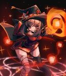 1girl allen_(makaroll) animal_ears arms_up artist_name asymmetrical_legwear bandaged_leg bandages bangs belt black_choker black_gloves black_legwear breasts bright_pupils brown_hair cape casting_spell choker closed_mouth collarbone commentary_request cosplay dress eyebrows_visible_through_hair feet_out_of_frame final_fantasy final_fantasy_xiv fingerless_gloves gloves glowing hand_on_headwear hat holding holding_staff kono_subarashii_sekai_ni_shukufuku_wo! leaning_forward legs_apart light_trail long_sleeves looking_at_viewer magic magic_circle medium_breasts megumin megumin_(cosplay) miqo'te narrow_waist orb outstretched_arm partial_commentary pigeon-toed pink_eyes red_background red_dress short_dress sidelocks smile solo sparkle staff standing symbol-shaped_pupils thigh-highs tongue tongue_out whisker_markings wide_hips witch_hat zettai_ryouiki