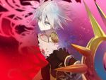 1boy blue_eyes blurry blurry_background blurry_foreground bodysuit closed_mouth collar cyawa depth_of_field earrings eyeshadow fate/apocrypha fate_(series) hair_between_eyes highres holding jewelry karna_(fate) looking_at_viewer makeup pale_skin red_background solo spiked_collar spikes white_hair