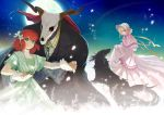 1boy 2girls anco_mhym bangs blonde_hair closed_mouth dog dress earrings ellias_ainsworth eye_contact eyebrows_visible_through_hair flower full_moon gloves green_dress green_eyes hair_between_eyes hair_flower hair_ornament hatori_chise holding_hands jewelry long_dress looking_at_another mahou_tsukai_no_yome moon multiple_girls pink_capelet pleated_dress red_eyes redhead ruth_(mahou_tsukai_no_yome) see-through short_hair short_sleeves silkie skirt_hold smile white_dress white_flower white_gloves