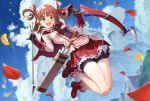 1girl :d absurdres arrow_(projectile) bangs bike_shorts black_gloves blue_sky blurry boots bow_(weapon) brown_hair capelet clouds cloudy_sky commentary dutch_angle eyebrows_visible_through_hair gloves green_eyes hair_ornament hair_rings highres holding holding_arrow holding_bow_(weapon) holding_weapon jumping legs_up long_sleeves looking_at_viewer medium_hair miniskirt mountain open_mouth petals petticoat pink_legwear pink_shirt pleated_skirt princess_connect! princess_connect!_re:dive quiver red_capelet red_footwear red_skirt rino_(princess_connect!) shirt shorts shorts_under_skirt skirt sky smile socks solo weapon yansun