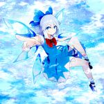 1girl absurdres bangs black_footwear blue_bow blue_dress blue_eyes blue_hair bow bowtie cirno closed_mouth dress eyebrows_visible_through_hair hair_between_eyes hair_bow highres huge_filesize ice ice_wings kuro_nasu looking_to_the_side medium_hair pointing red_bow red_neckwear short_sleeves snowflakes socks solo touhou v-shaped_eyebrows white_legwear white_sleeves wings