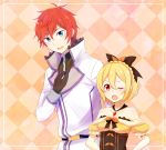1boy 1girl :d bangs black_bow black_gloves blonde_hair blue_eyes bow braid bustier checkered checkered_background coat collarbone crown_braid dress felt_(re:zero) gloves hair_between_eyes hair_bow highres long_sleeves nemu_mohu off-shoulder_dress off_shoulder one_eye_closed open_mouth orange_bow re:zero_kara_hajimeru_isekai_seikatsu red_eyes redhead reinhard_van_astrea shiny shiny_hair short_hair short_sleeves smile standing white_coat