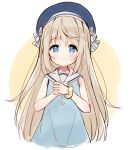 1girl bangs bare_arms bare_shoulders beret blue_dress blue_eyes blue_headwear blush bow brown_background closed_mouth cropped_torso dress eyebrows_visible_through_hair hair_between_eyes hair_bow hands_together hat light_brown_hair long_hair looking_at_viewer meito_(maze) original own_hands_together sailor_collar sailor_dress scrunchie sleeveless sleeveless_dress smile solo striped striped_bow two-tone_background upper_body very_long_hair white_background white_bow white_sailor_collar wrist_scrunchie yellow_scrunchie